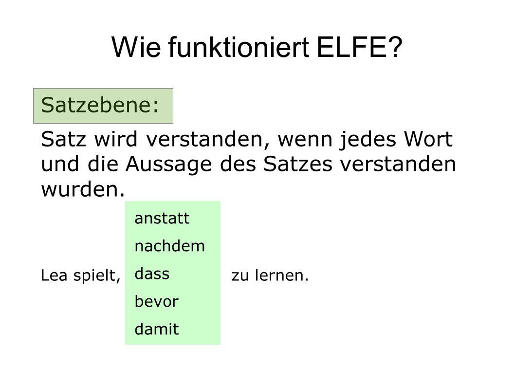 Wie funktioniert ELFE Satzebene: