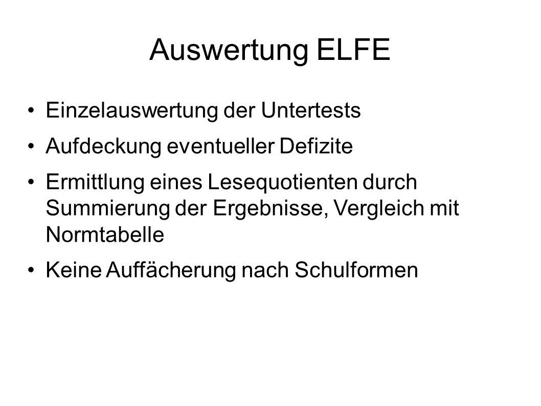 Auswertung ELFE Einzelauswertung der Untertests