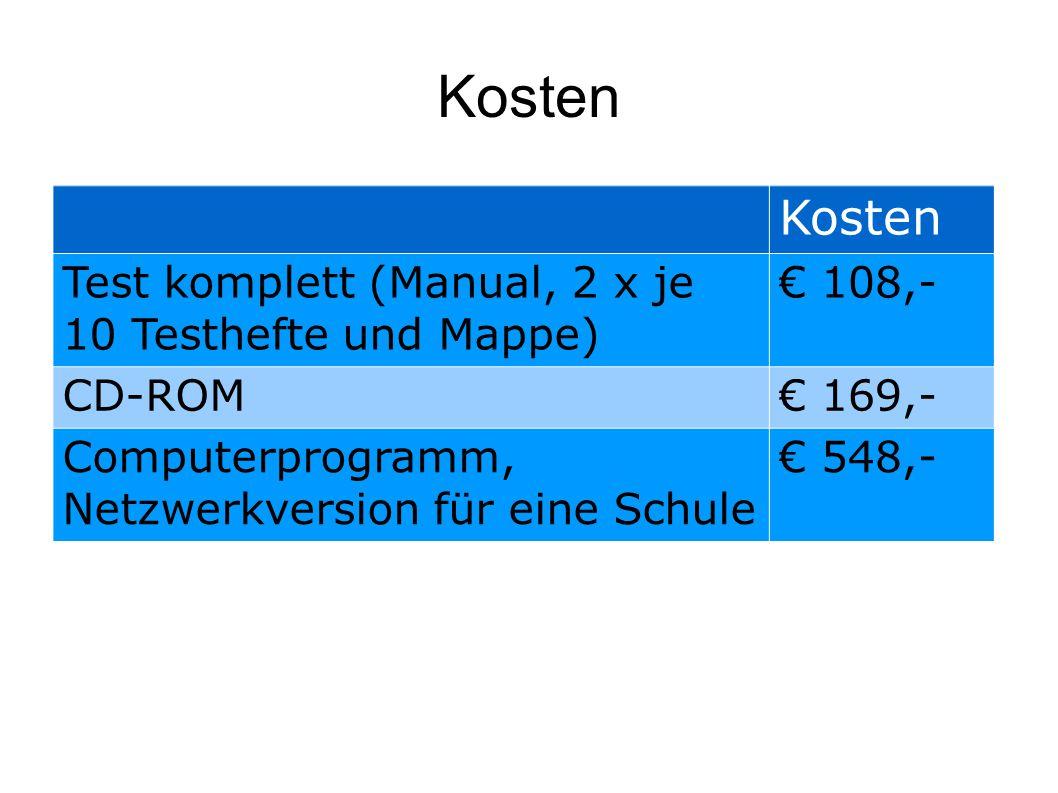 Kosten Kosten Test komplett (Manual, 2 x je 10 Testhefte und Mappe)