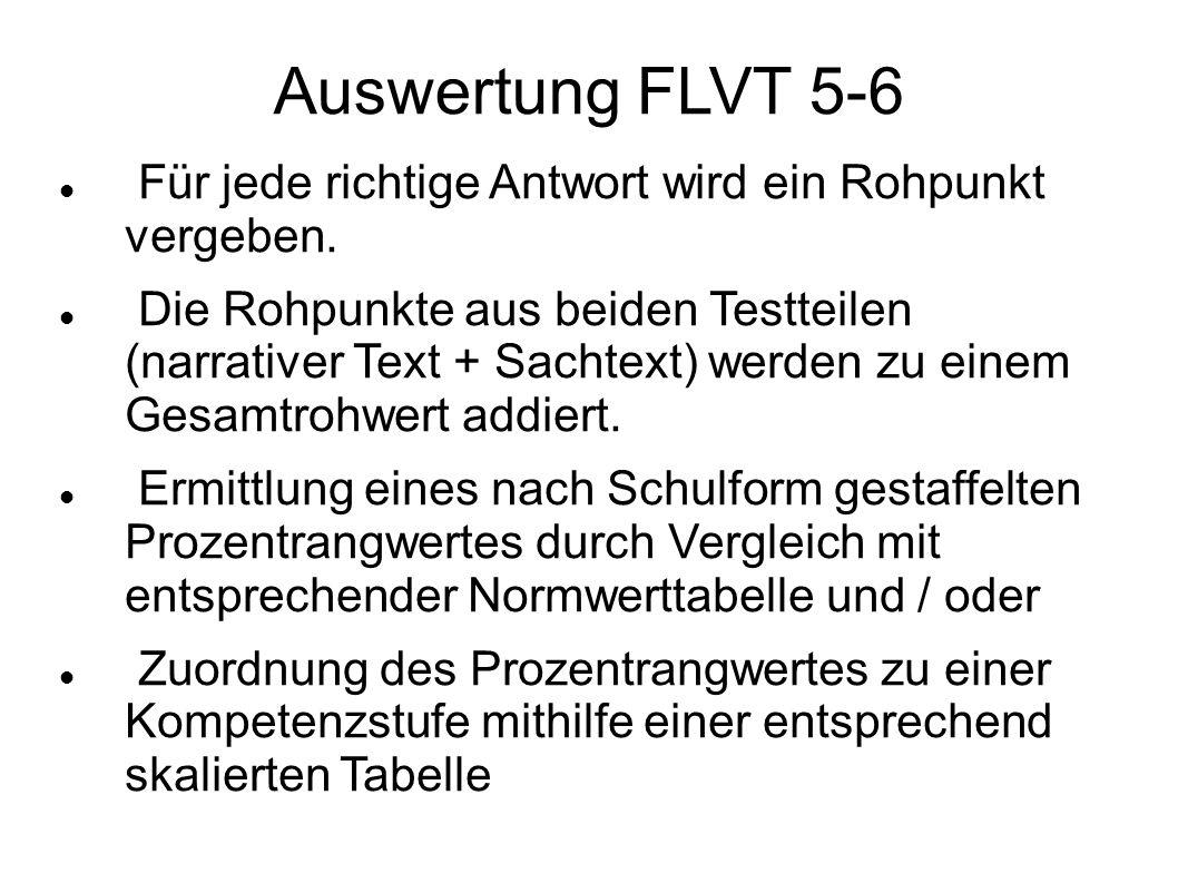 Auswertung FLVT 5-6 Für jede richtige Antwort wird ein Rohpunkt vergeben.