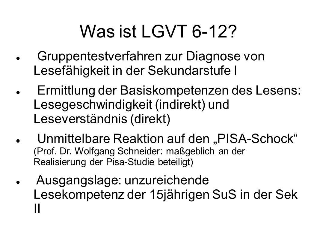 Was ist LGVT 6-12 Gruppentestverfahren zur Diagnose von Lesefähigkeit in der Sekundarstufe I.