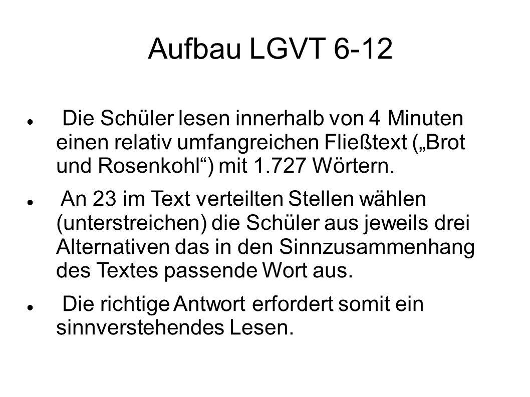 """Aufbau LGVT 6-12 Die Schüler lesen innerhalb von 4 Minuten einen relativ umfangreichen Fließtext (""""Brot und Rosenkohl ) mit 1.727 Wörtern."""
