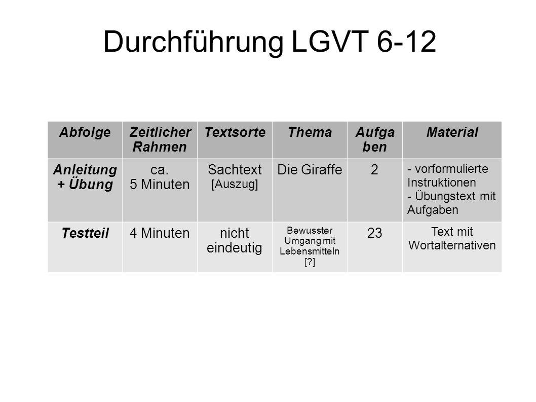 Durchführung LGVT 6-12 Abfolge Zeitlicher Rahmen Textsorte Thema