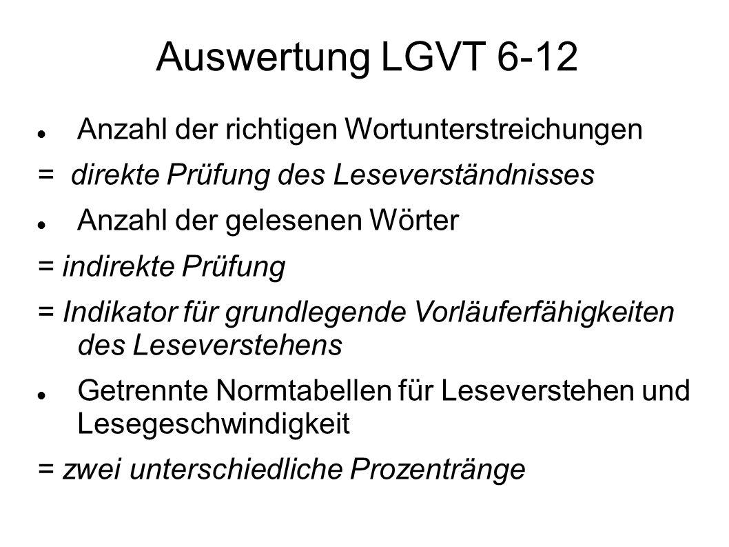 Auswertung LGVT 6-12 Anzahl der richtigen Wortunterstreichungen