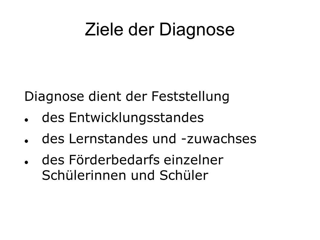 Ziele der Diagnose Diagnose dient der Feststellung