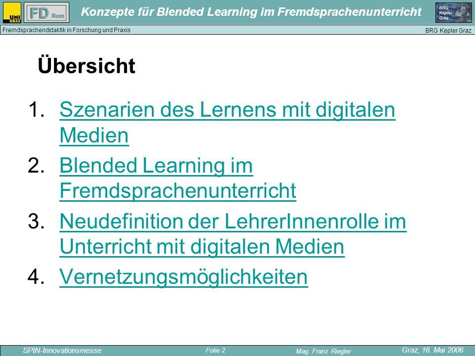 Übersicht Szenarien des Lernens mit digitalen Medien. Blended Learning im Fremdsprachenunterricht.