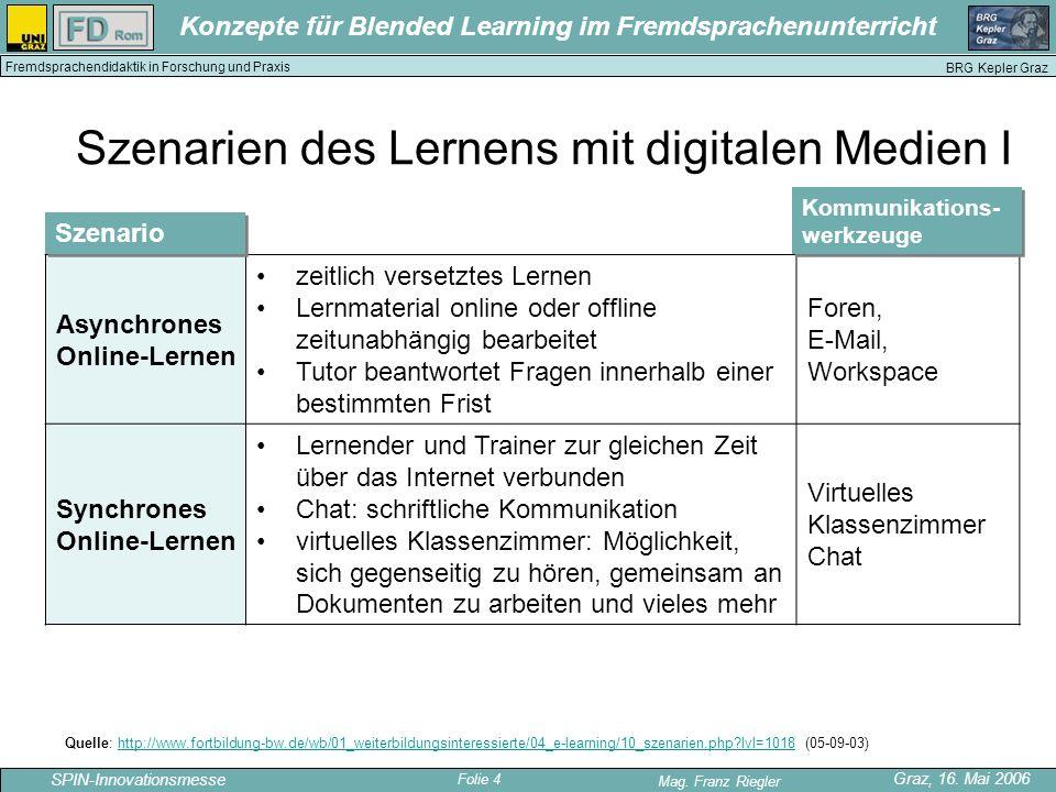 Szenarien des Lernens mit digitalen Medien I