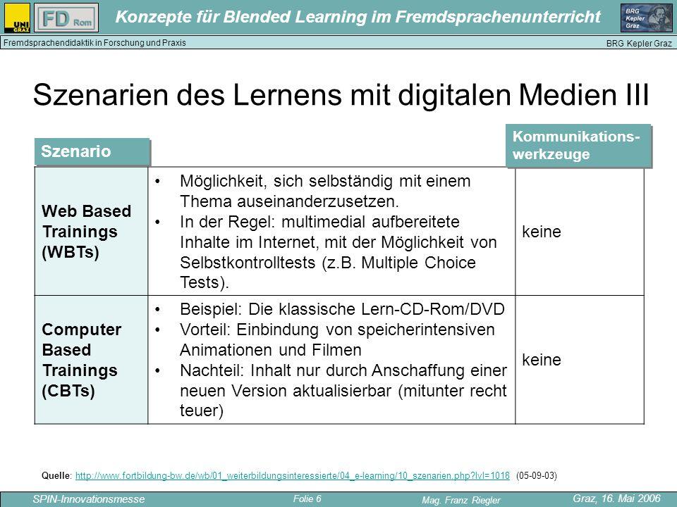 Szenarien des Lernens mit digitalen Medien III