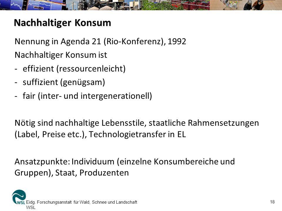 Nachhaltiger Konsum Nennung in Agenda 21 (Rio-Konferenz), 1992