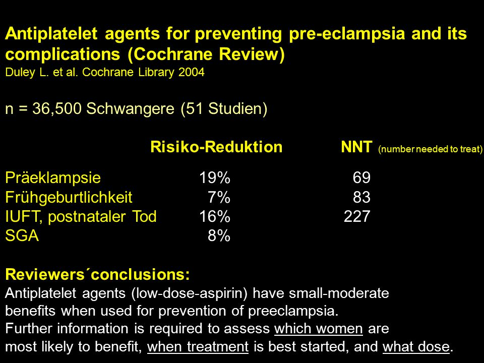 Antiplatelet agents for preventing pre-eclampsia and its