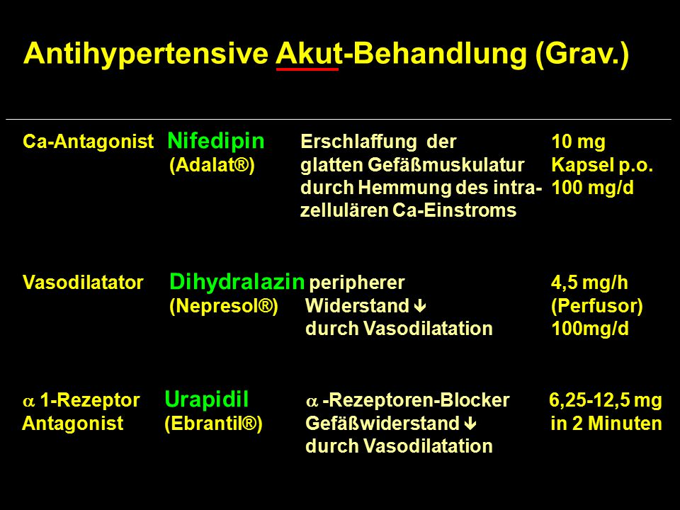 Antihypertensive Akut-Behandlung (Grav.)