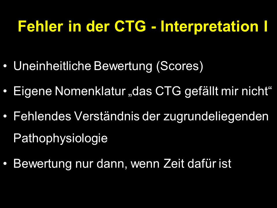 Fehler in der CTG - Interpretation I