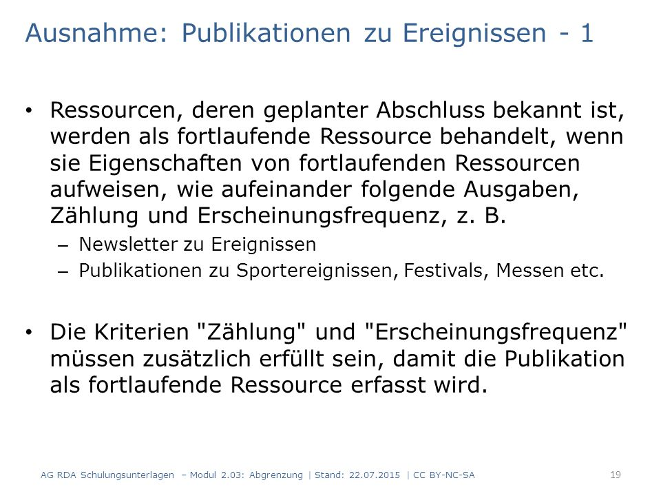 Ausnahme: Publikationen zu Ereignissen - 1