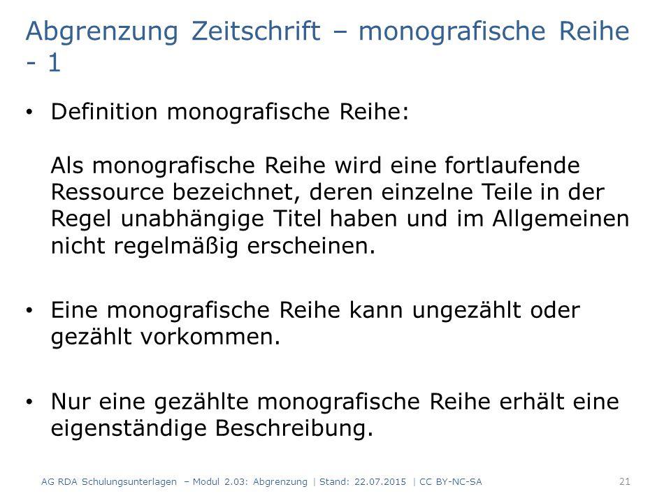 Abgrenzung Zeitschrift – monografische Reihe - 1