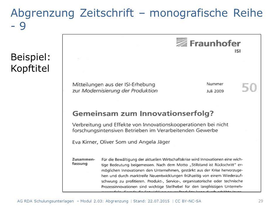 Abgrenzung Zeitschrift – monografische Reihe - 9