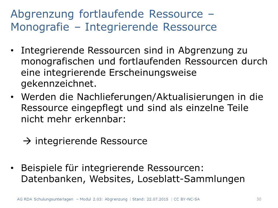 Abgrenzung fortlaufende Ressource – Monografie – Integrierende Ressource