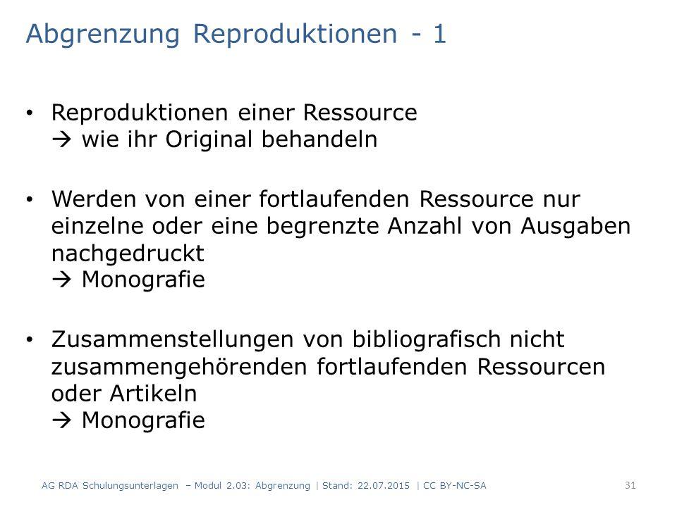 Abgrenzung Reproduktionen - 1