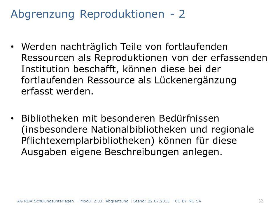 Abgrenzung Reproduktionen - 2