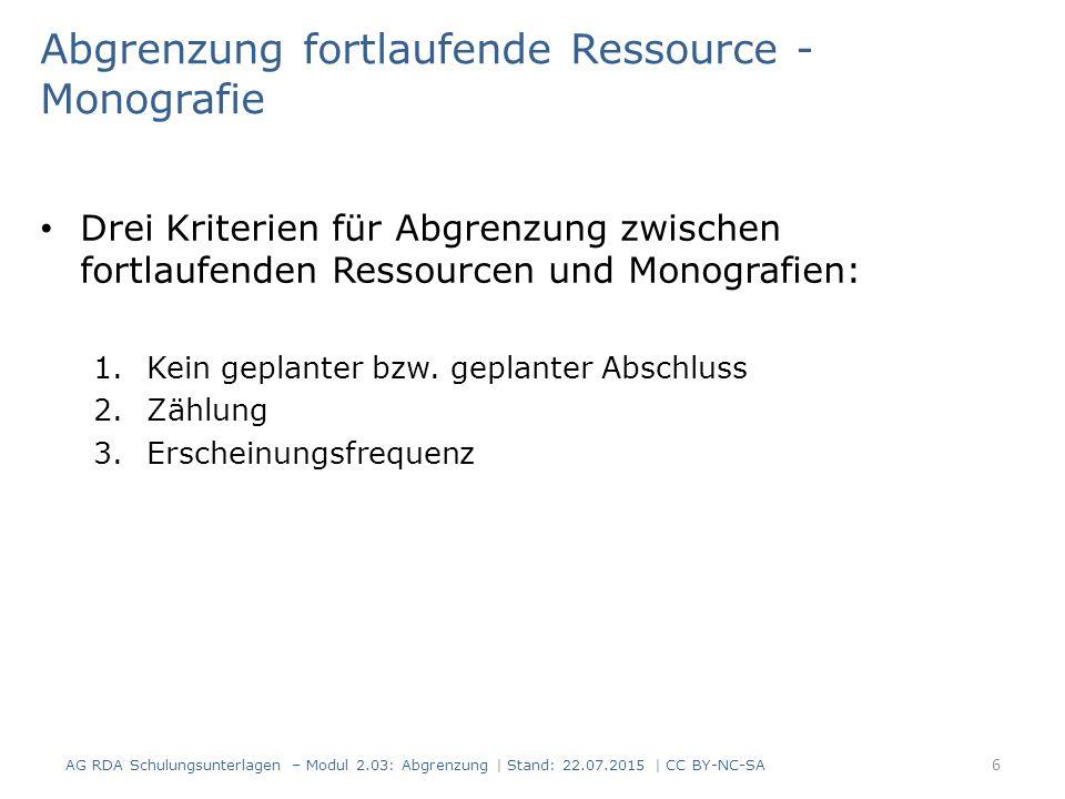 Abgrenzung fortlaufende Ressource - Monografie