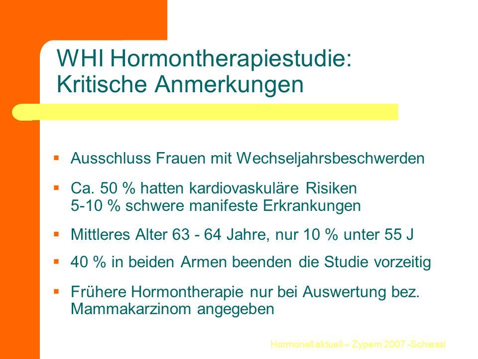 WHI Hormontherapiestudie: Kritische Anmerkungen
