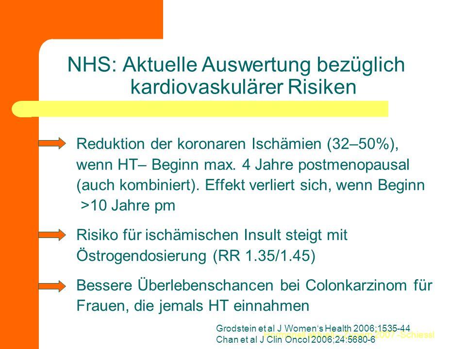 NHS: Aktuelle Auswertung bezüglich kardiovaskulärer Risiken