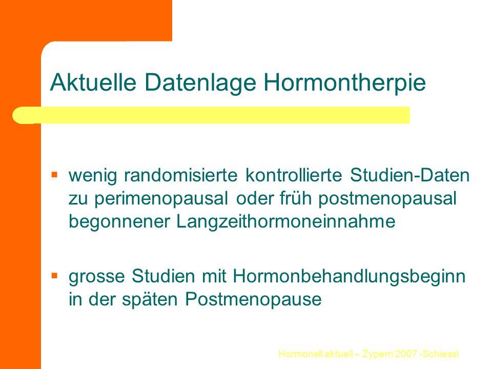 Aktuelle Datenlage Hormontherpie