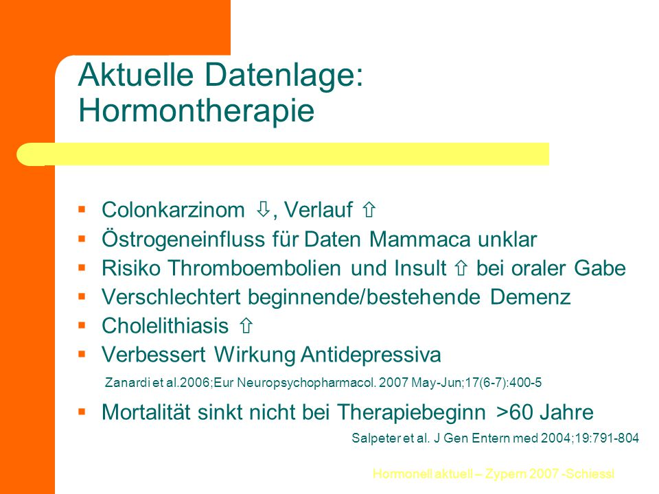 Aktuelle Datenlage: Hormontherapie
