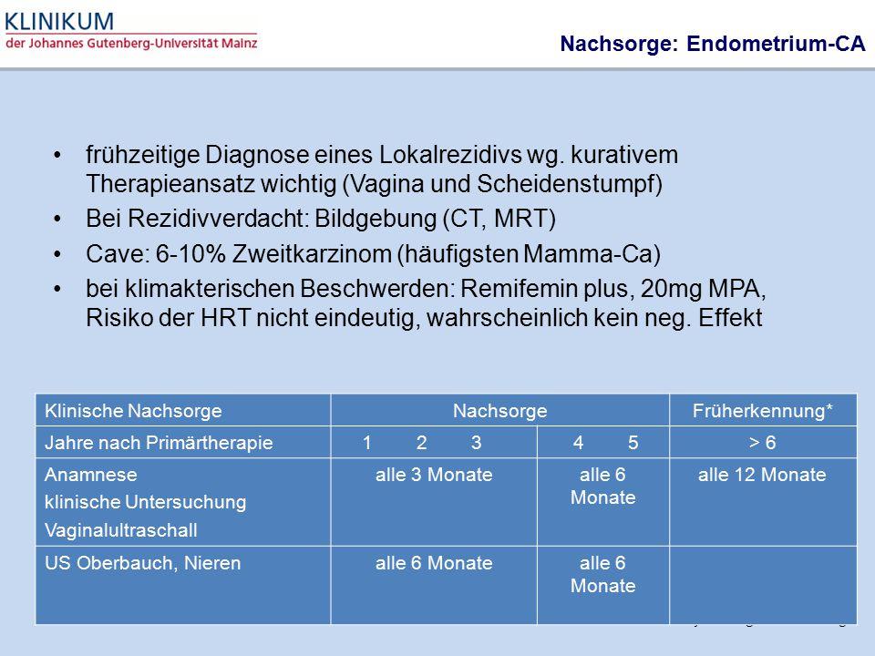 Bei Rezidivverdacht: Bildgebung (CT, MRT)