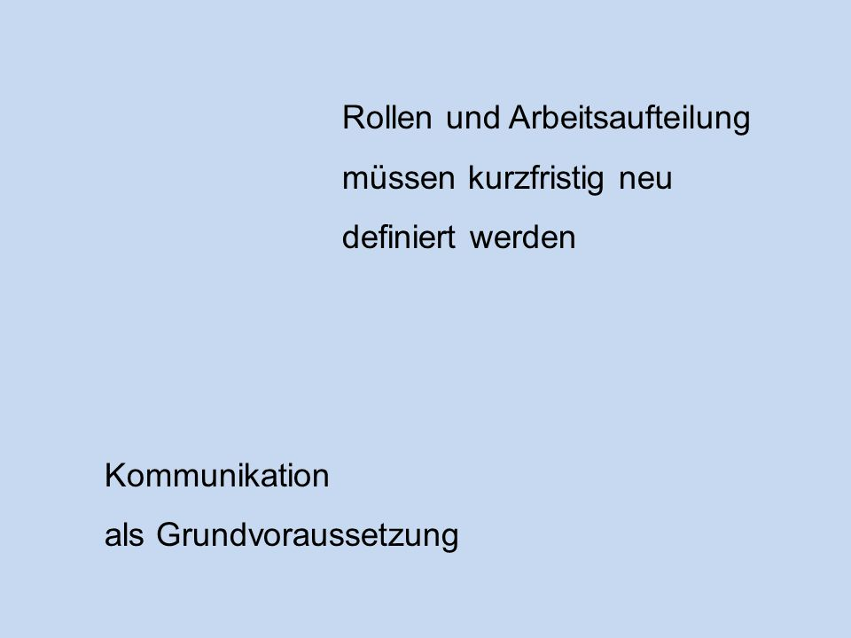 Rollen und Arbeitsaufteilung