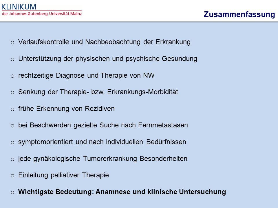 Zusammenfassung Verlaufskontrolle und Nachbeobachtung der Erkrankung