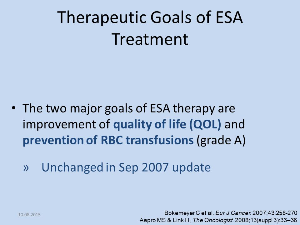 Therapeutic Goals of ESA Treatment