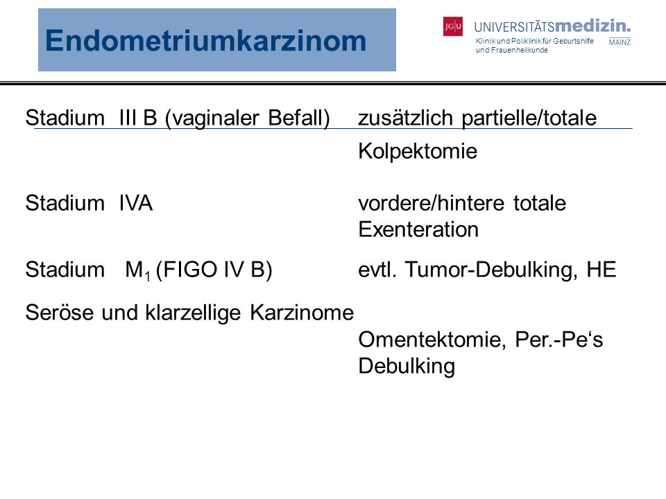 Endometriumkarzinom Stadium III B (vaginaler Befall) zusätzlich partielle/totale. Kolpektomie.