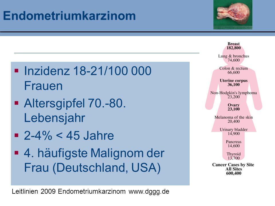 Altersgipfel 70.-80. Lebensjahr 2-4% < 45 Jahre
