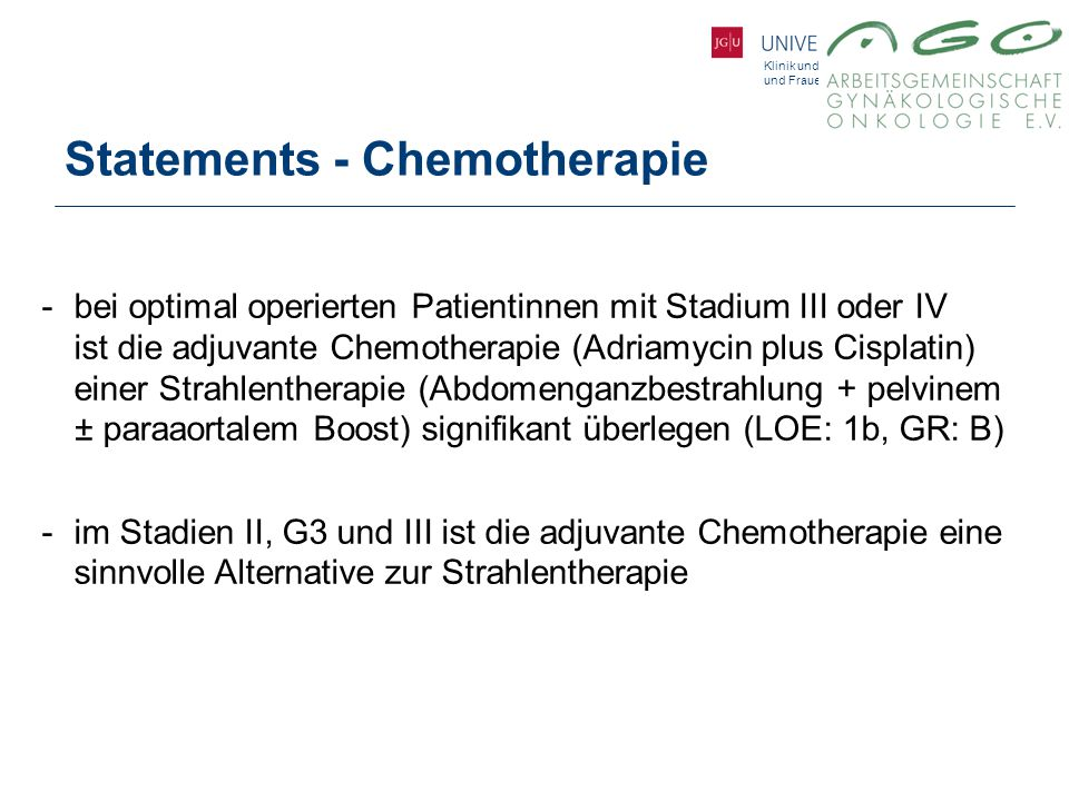 Statements - Chemotherapie