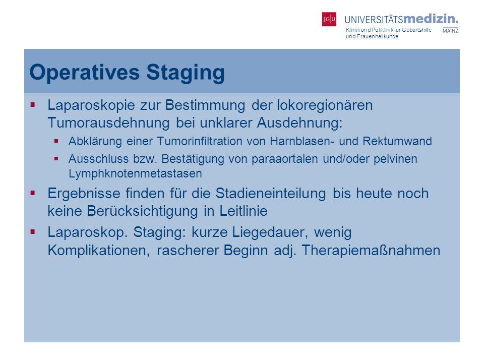 Operatives Staging Laparoskopie zur Bestimmung der lokoregionären Tumorausdehnung bei unklarer Ausdehnung: