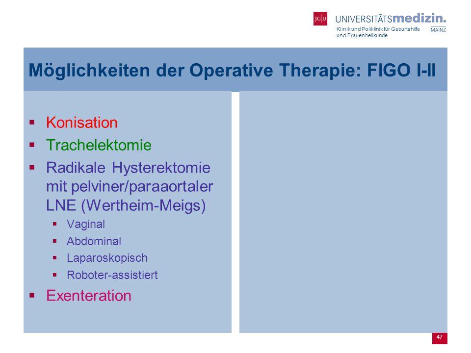 Möglichkeiten der Operative Therapie: FIGO I-II