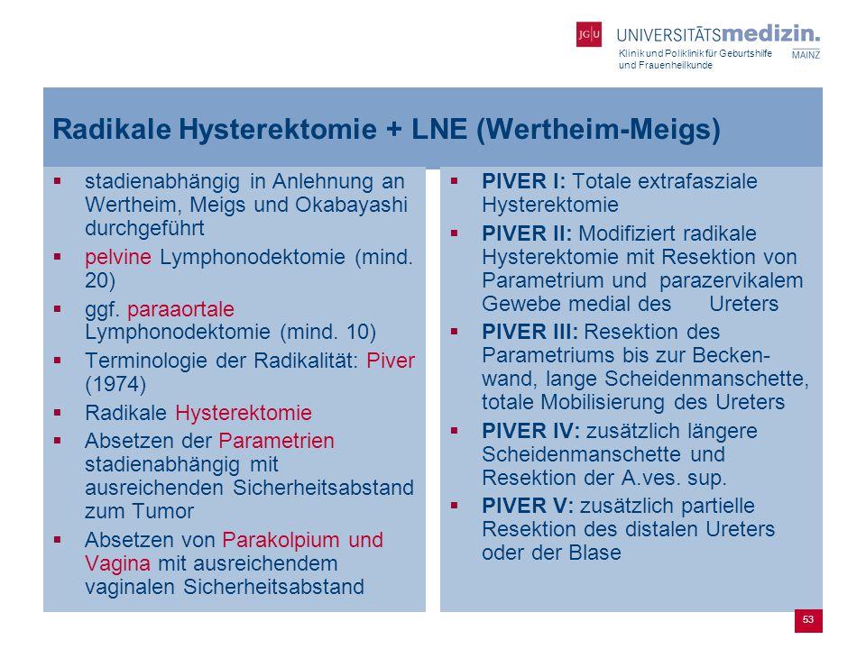 Radikale Hysterektomie + LNE (Wertheim-Meigs)