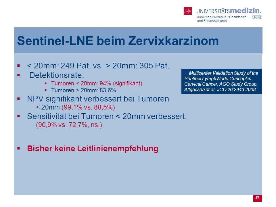 Sentinel-LNE beim Zervixkarzinom