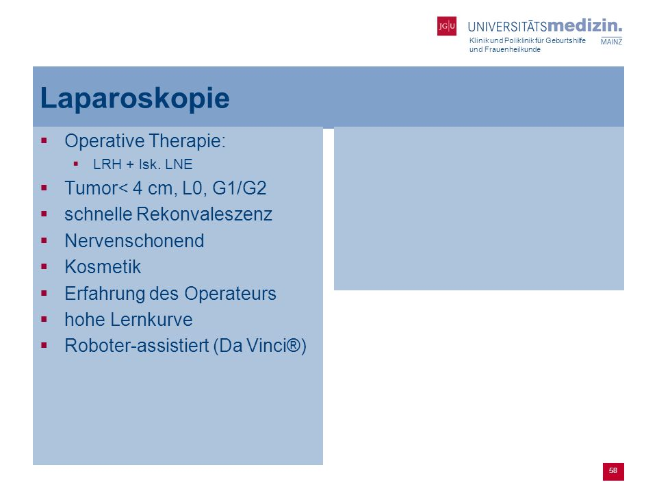 Laparoskopie Operative Therapie: Tumor< 4 cm, L0, G1/G2