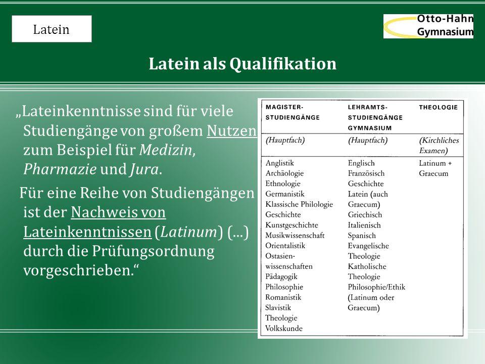 Latein als Qualifikation