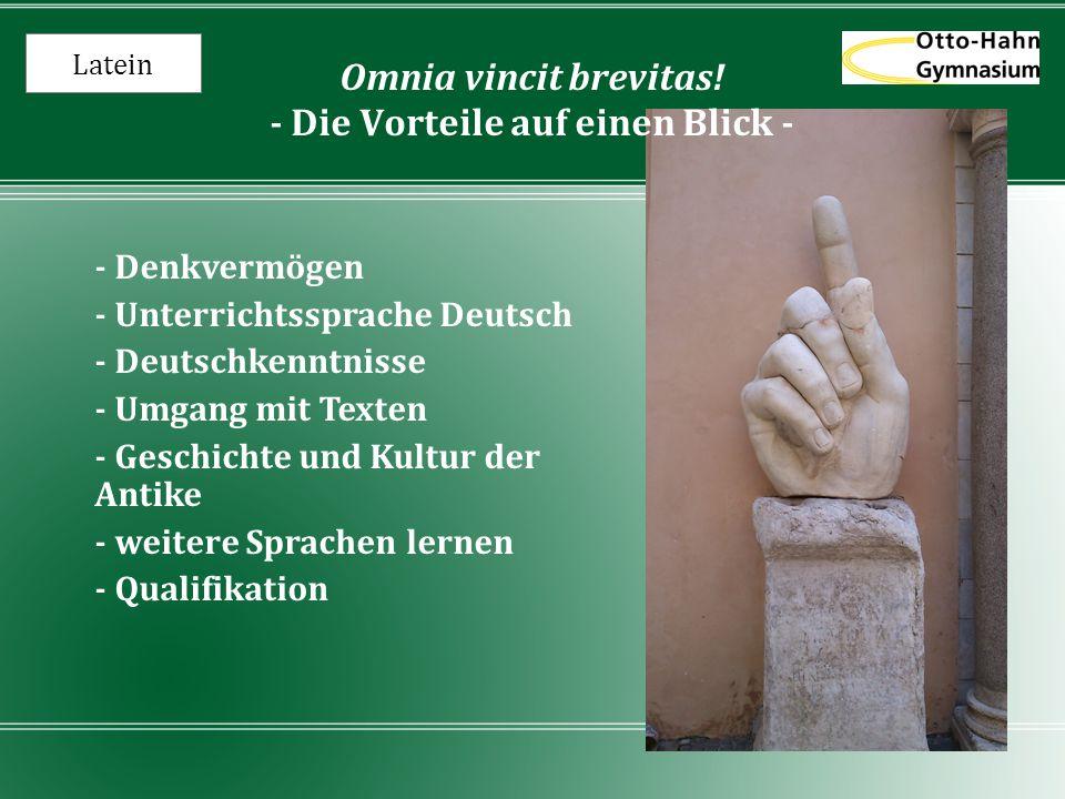 Omnia vincit brevitas! - Die Vorteile auf einen Blick -