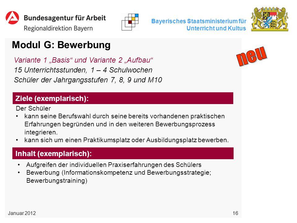 "neu Modul G: Bewerbung Variante 1 ""Basis und Variante 2 ""Aufbau"