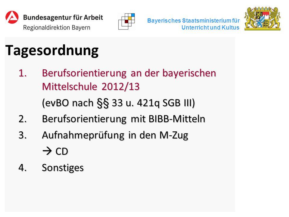Tagesordnung Berufsorientierung an der bayerischen Mittelschule 2012/13. (evBO nach §§ 33 u. 421q SGB III)