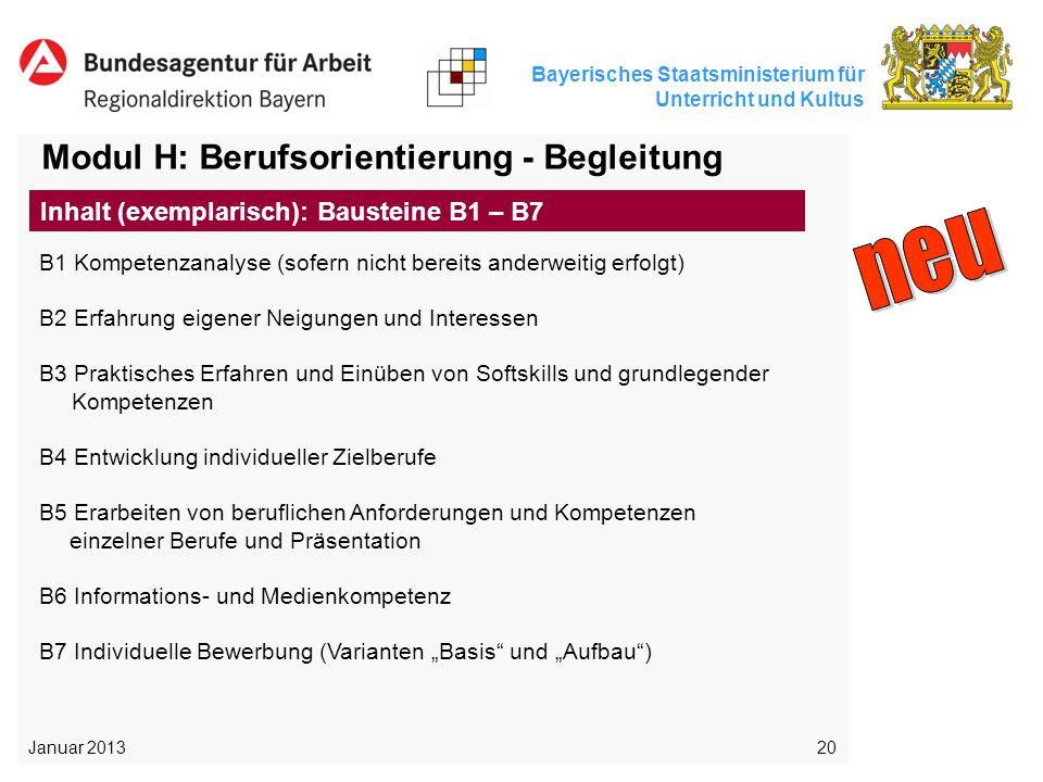 neu Modul H: Berufsorientierung - Begleitung