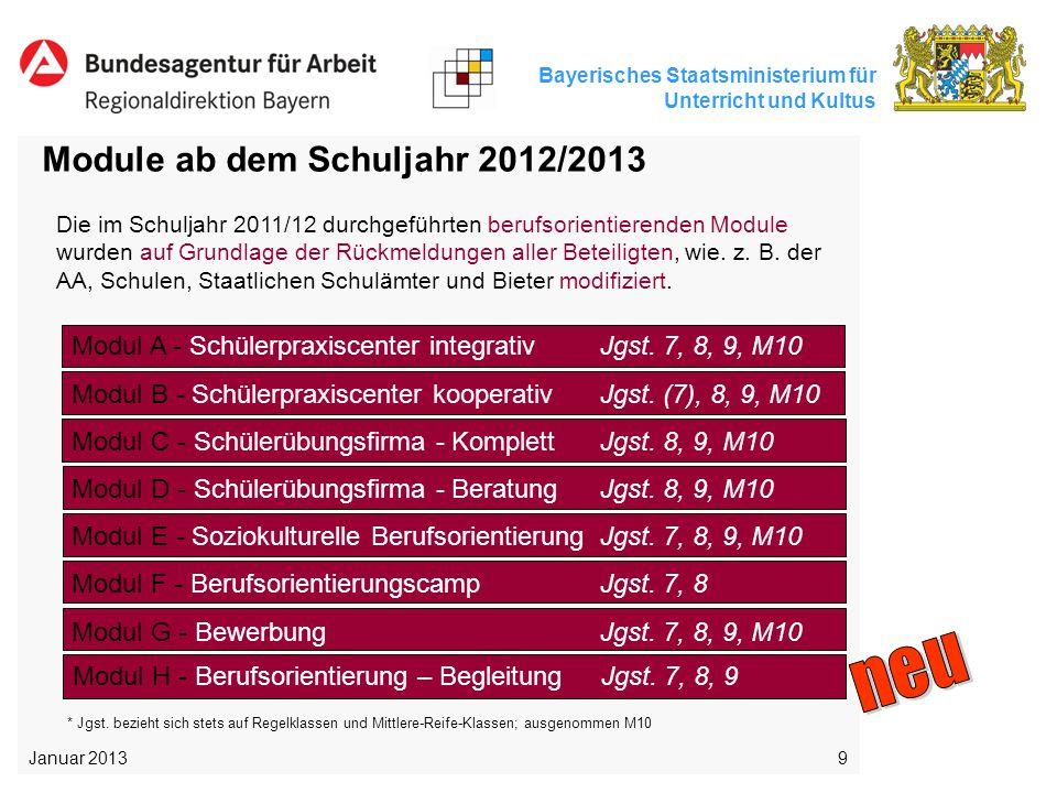 neu Module ab dem Schuljahr 2012/2013