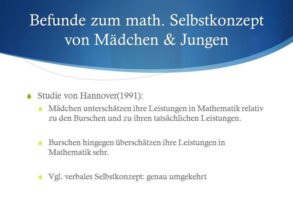 Befunde zum math. Selbstkonzept von Mädchen & Jungen