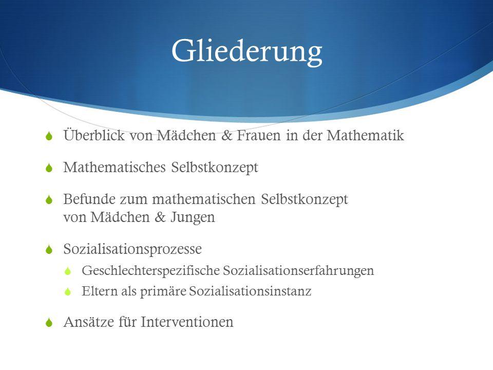 Gliederung Überblick von Mädchen & Frauen in der Mathematik