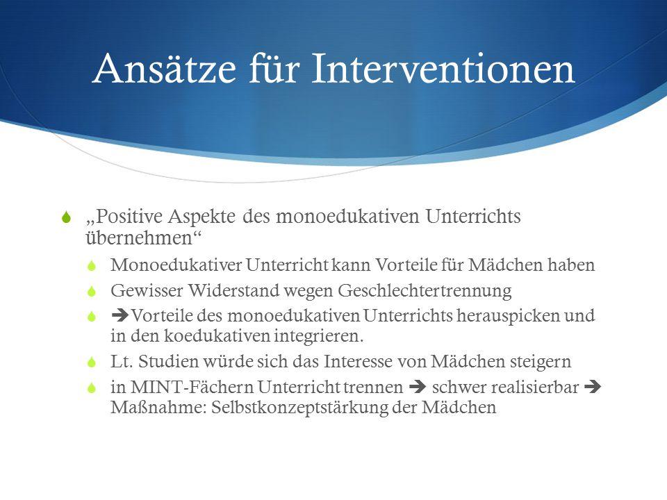Ansätze für Interventionen