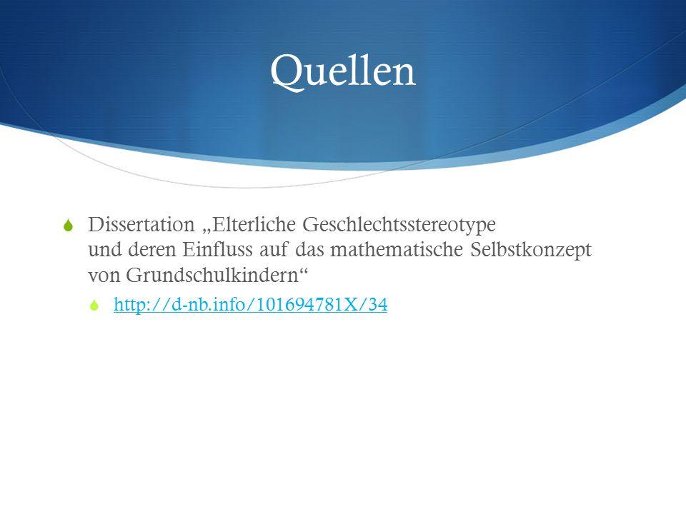 """Quellen Dissertation """"Elterliche Geschlechtsstereotype und deren Einfluss auf das mathematische Selbstkonzept von Grundschulkindern"""