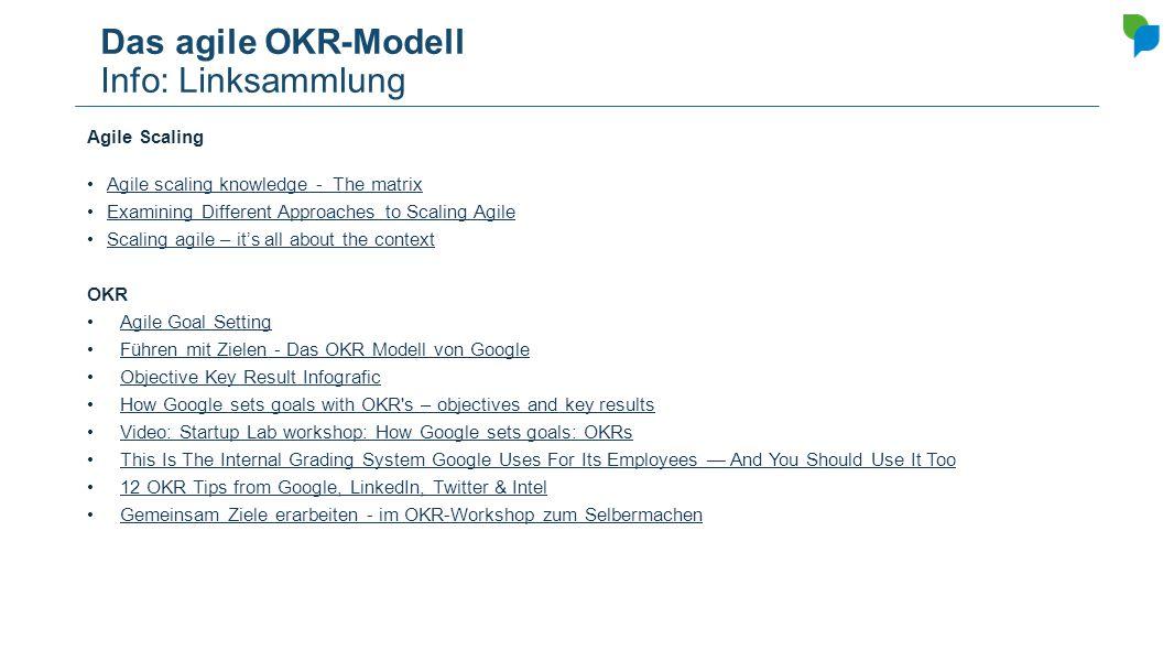 Das agile OKR-Modell Info: Linksammlung